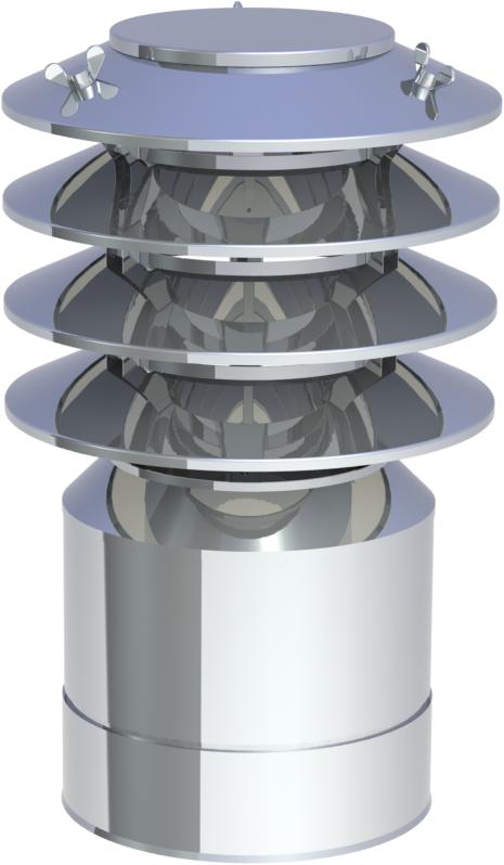 edelstahlschornstein doppelwandig dn150 m ndungsabschluss mit lamellenaufsatz kamin. Black Bedroom Furniture Sets. Home Design Ideas